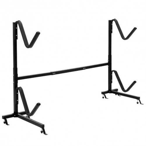 Freestanding Height Adjustable Dual Kayak Storage Rack - Color: Black