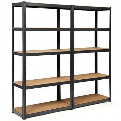2 Pcs Storage Shelves Garage Shelving Units Tool Utility Shelves-Black - Color: Black