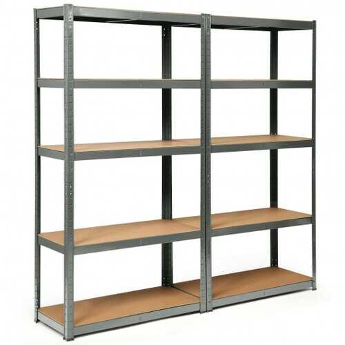 2 Pcs Storage Shelves Garage Shelving Units Tool Utility Shelves-Gray - Color: Gray