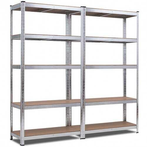 2 Pcs Storage Shelves Garage Shelving Units Tool Utility Shelves-Silver - Color: Silver