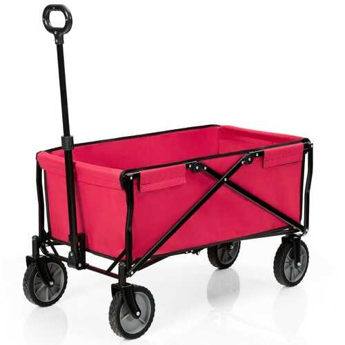 Collapsible Outdoor Utility Wagon Folding Garden Tool Cart-Red