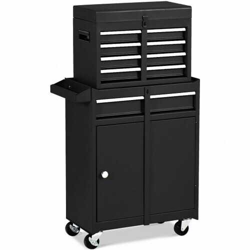 2-in-1 Tool Chest & Cabinet with 5 Sliding Drawers-Black - Color: Black