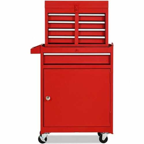 2-in-1 Tool Chest & Cabinet with 5 Sliding Drawers-Red - Color: Red