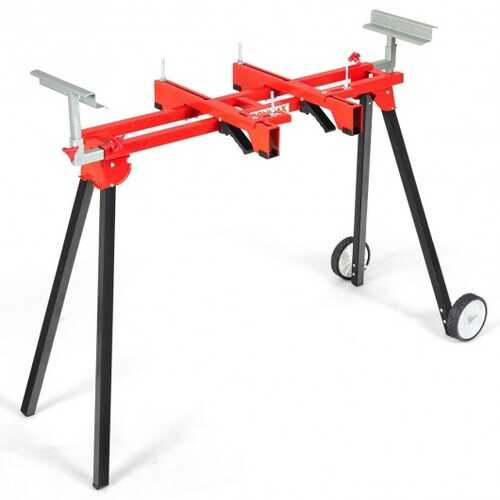 Folding Miter Saw Stand with Heavy Duty Saw Frame-Red - Color: Red