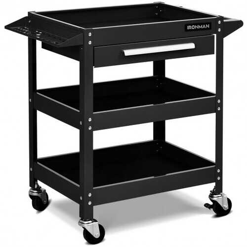Rolling Tool Cart Mechanic Cabinet Storage ToolBox Organizer with Drawer-Black