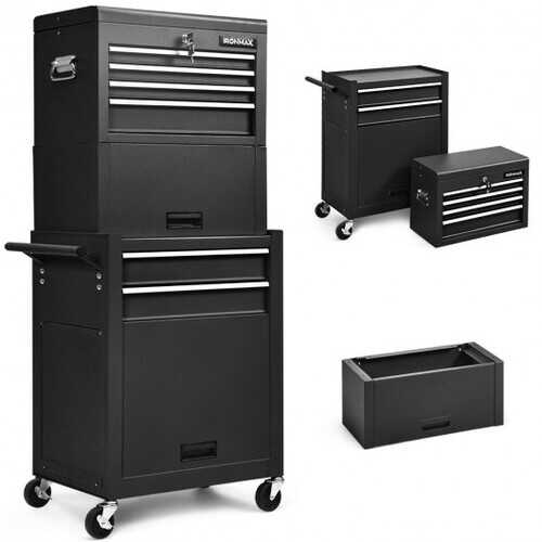 6-Drawer Tool Chest w/ Heightening Cabinet-Black - Color: Black