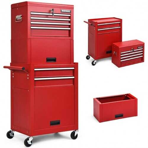 6-Drawer Tool Chest w/ Heightening Cabinet-Red - Color: Red