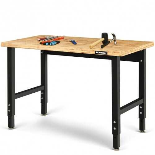 """48"""" Adjustable Height Bamboo Steel Frame Workbench - Size: 48"""" x 24"""" x (28.5""""-42"""")"""