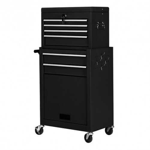 Rolling Cabinet Storage Chest Box Garage Toolbox-Black - Color: Black