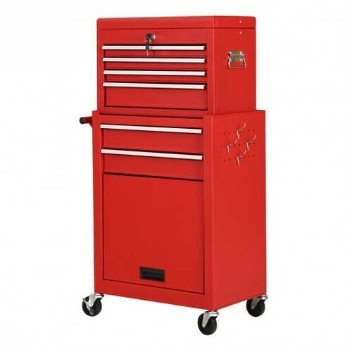 Rolling Cabinet Storage Chest Box Garage Toolbox Organizer-Red - Color: Red