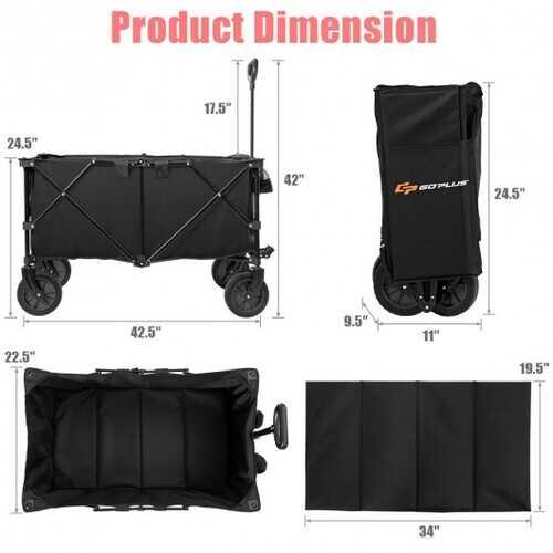 Outdoor Utility Garden Trolley Buggy -Black - Color: Black