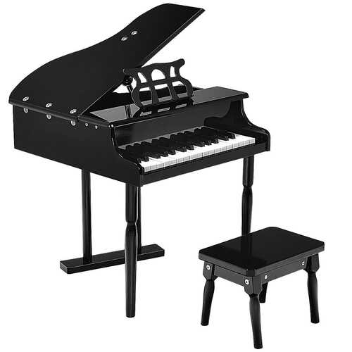 Musical Instrument Toy 30-Key Children Mini Grand Piano with Bench-Black - Color: Black