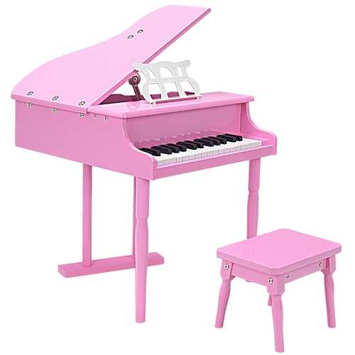 Musical Instrument Toy 30-Key Children Mini Grand Piano with Bench-Pink - Color: Pink