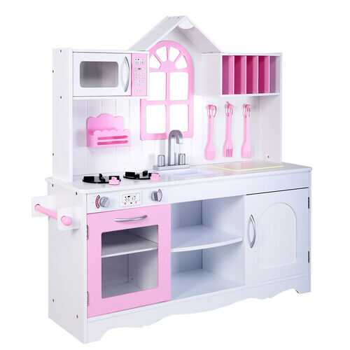 Wood Toy Kitchen Kids Cooking Pretend Play Set