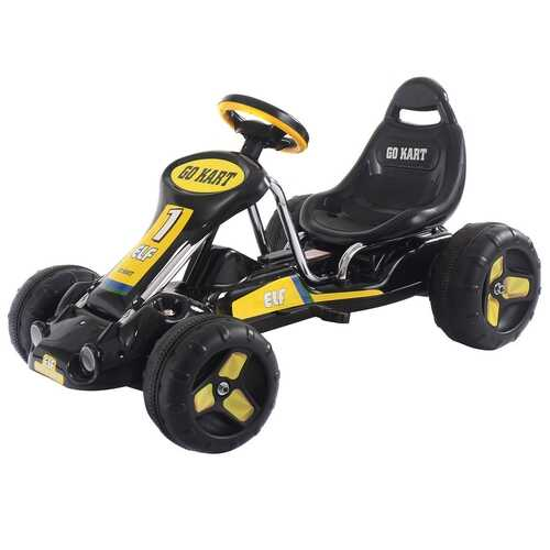 Go Kart Kids Ride On Car Pedal Powered Car 4 Wheel Racer Toy Stealth Outdoor-Black - Color: Black