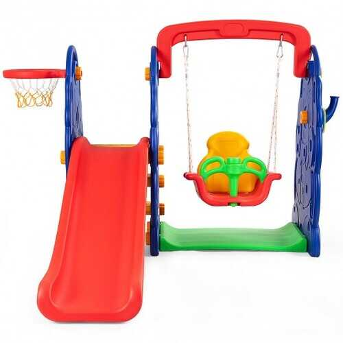 3 in 1 Junior Children Freestanding Design Climber Slide Swing Seat Basketball Hoop