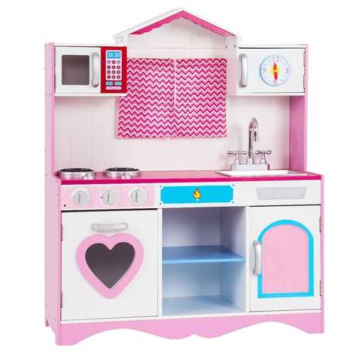 Wood Kitchen Toy Kids Cooking Pretend Play Set
