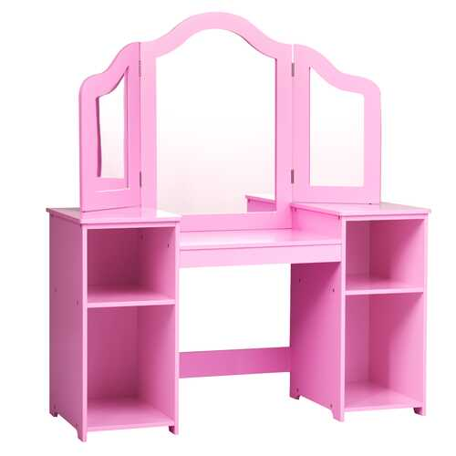 Kids Tri Folding Mirror Makeup Dressing Vanity Table Set-Pink