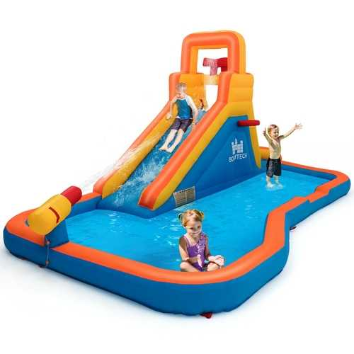 Inflatable Water Bouncer with Climbing Wall and Ball Hoop
