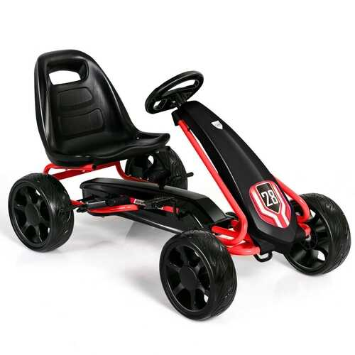 Kids Ride On Toys Pedal Powered Go Kart Pedal Car-Black - Color: Black