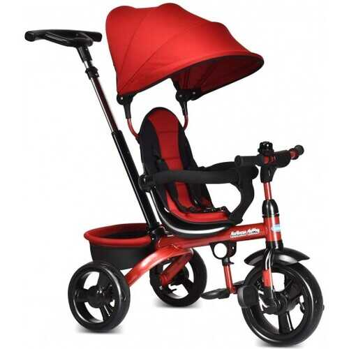 4-in-1 Kids Tricycle with Adjustable Push Handle-Red - Color: Red