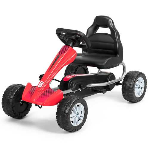 Kids Powered 4 Wheel Adjustable Seat  Pedal Go Kart-Red