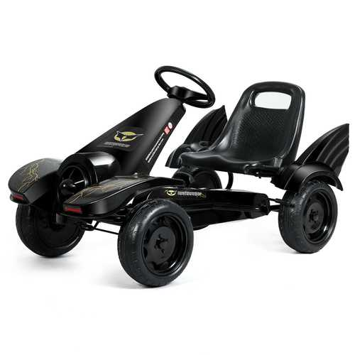 Kids Ride on 4 Wheel Pedal Powered Go Kart - Color: Black