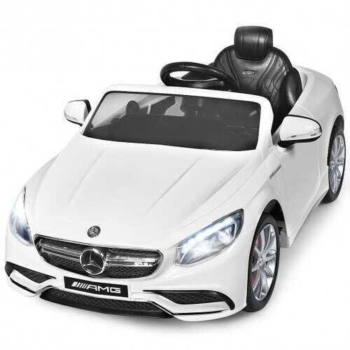 12 V Mercedes-Benz S63 Licensed Kids Ride On Car-White - Color: White