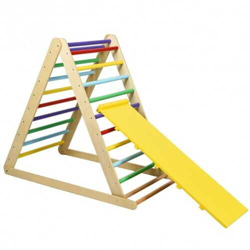 Foldable Wooden Climbing Triangle Indoor Home Climber Ladder - Color: Multicolor