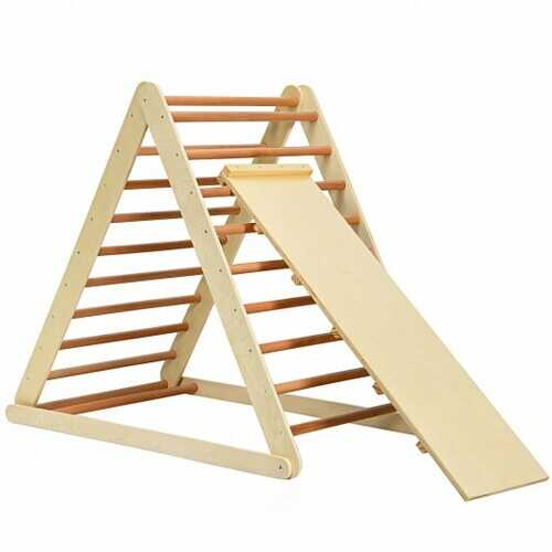 Foldable Wooden Climbing Triangle Indoor with Ladder for Toddler Baby-Natural - Color: Natural