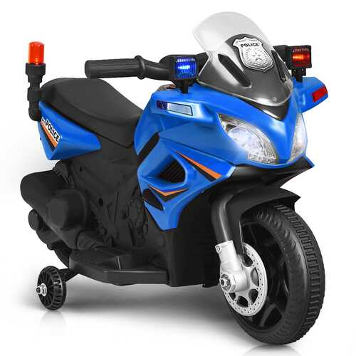 6V Kids 4-Wheel Ride On Police Motorcycle with Training Wheels-Blue