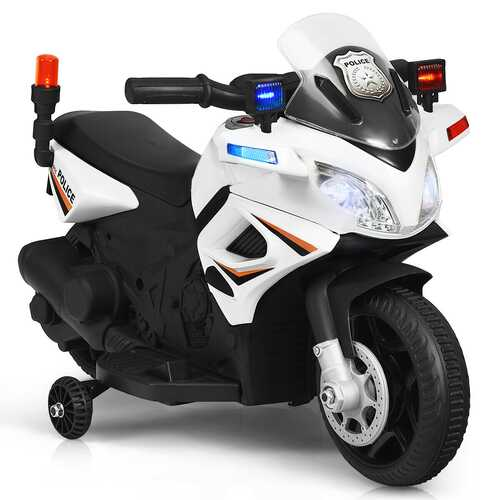 6V Kids 4-Wheel Ride On Police Motorcycle with Training Wheels-White