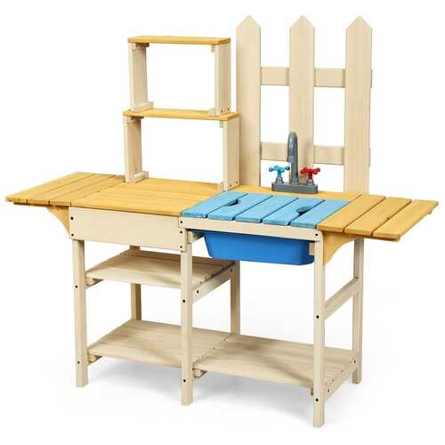 Kid's Outdoor Wooden Pretend Cook Kitchen Playset Toy