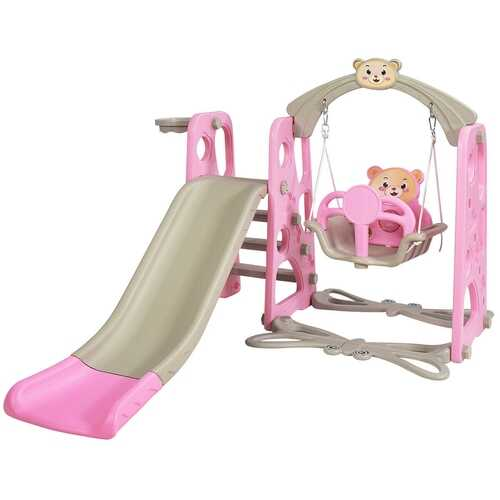 3 in 1 Toddler Climber and Swing Set Slide Playset-Pink