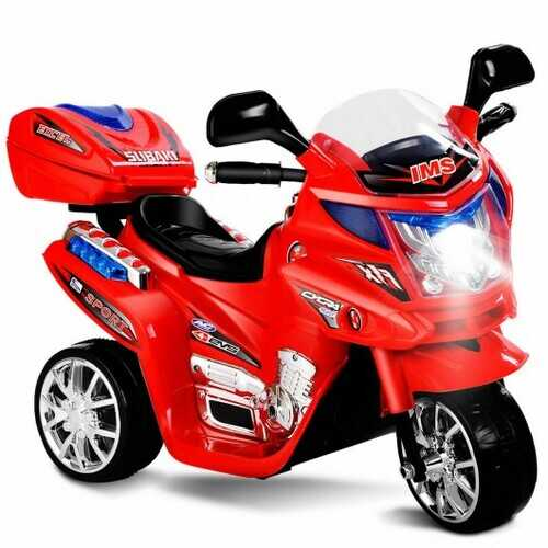 3 Wheel Kids 6V Battery Powered Electric Motorcycle Red - Color: Red