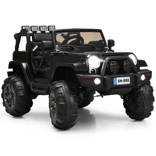 12V Kids Remote Control Riding Truck Car with LED Lights-Black - Color: Black