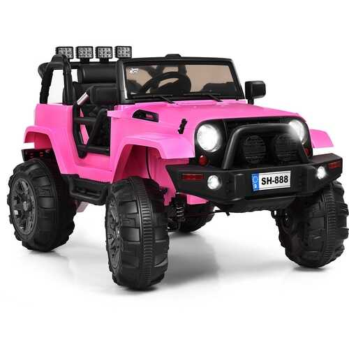 12V Kids Remote Control Riding Truck Car with LED Lights-Pink - Color: Pink