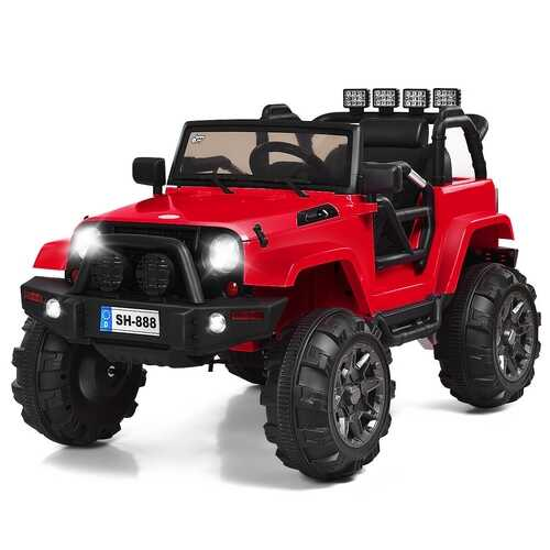 12V Kids Remote Control Riding Truck Car with LED Lights-Red - Color: Red