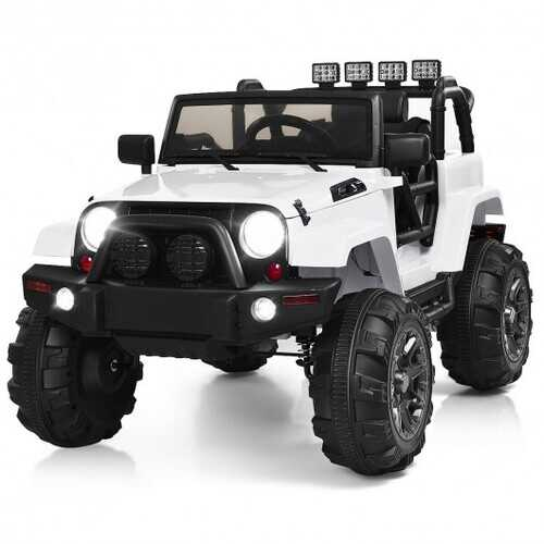 12V Kids Remote Control Riding Truck Car with LED Lights-White - Color: White