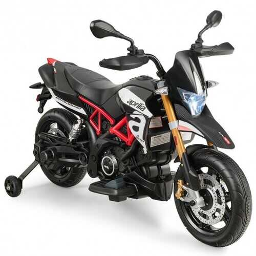 Aprilia Licensed 12V Kids Ride-On Motorcycle-Black - Color: Black