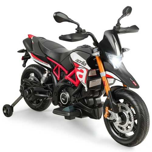Aprilia Licensed 12V Kids Ride-On Motorcycle-Red - Color: Red