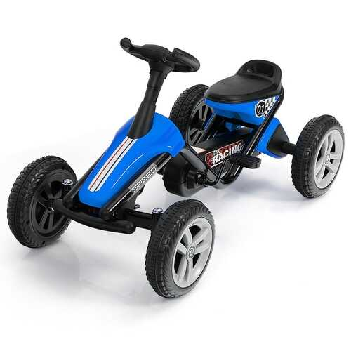 4 Wheel Pedal Powered Ride on Racer Car for Kids-Blue - Color: Blue