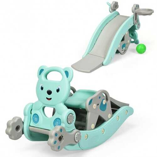 4-in-1Baby Rocking Horse Slide Set-Green - Color: Green