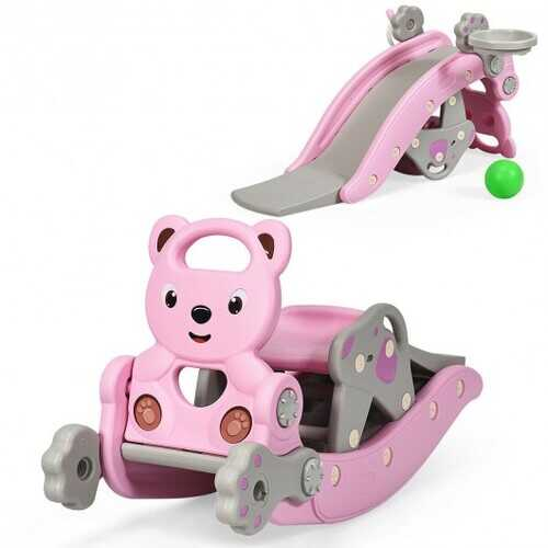 4-in-1Baby Rocking Horse Slide Set-Pink - Color: Pink
