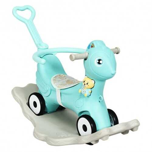 4 in 1 Baby Rocking Horse with Music-Green - Color: Green