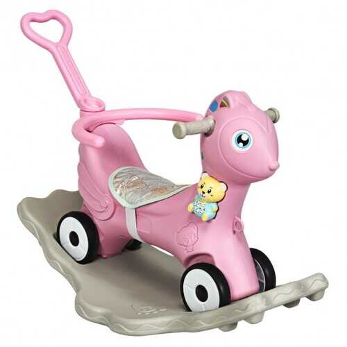 4 in 1 Baby Rocking Horse with Music-Pink - Color: Pink
