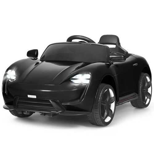 12V Kids Ride On Car with MP3 & LED Light-Black - Color: Black