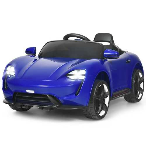 12V Kids Ride On Car with MP3 & LED Light-Blue - Color: Blue
