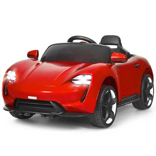 12V Kids Ride On Car with MP3 & LED Light-Red - Color: Red