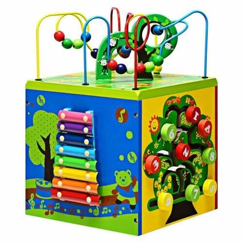 5-in-1 Wooden Activity Cube Toy